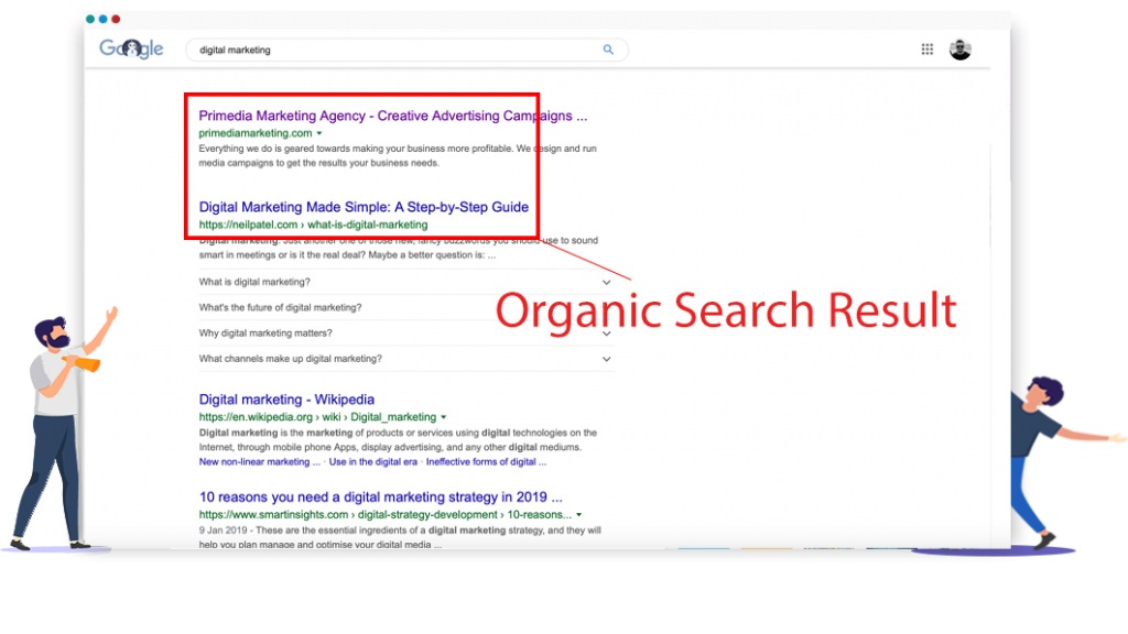 Wales SEO organic search result